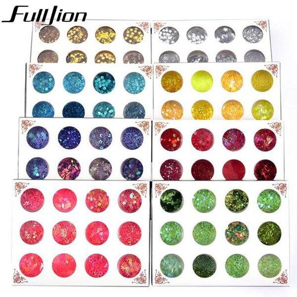 Fulljion Sparkly Star Heart Flakes Nail Glitter Sequins Rhinestone Nail Art Decorations Gel Pigment Powder DIY Tips Tools