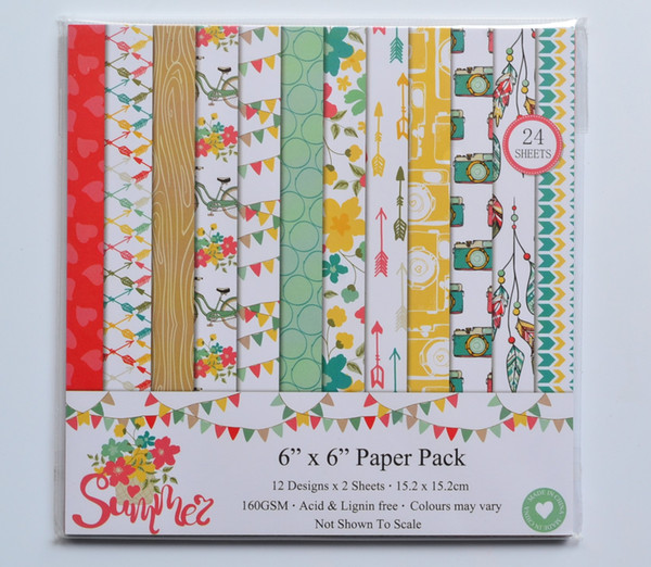 "DIY Album Photo Scrapbooking set Decorative Papers Summer Craft paper 6""inch X 6"" inch Single Side Printed 24 pcs/Set"