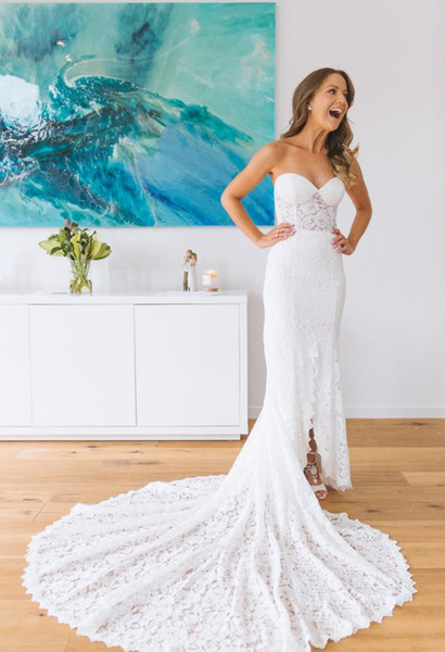 2018 Gorgeous Lace Mermaid Wedding Dresses with pocket front slit sweetheart illusion beach country boho Bridal Gowns Plus Size