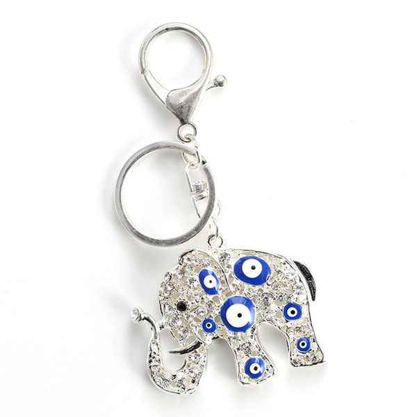 Elephant Charms Keychain Evil Eye Pendent Key Chain Alloy Lobster Buckle Key Chain Fashion Jewelry Gifts