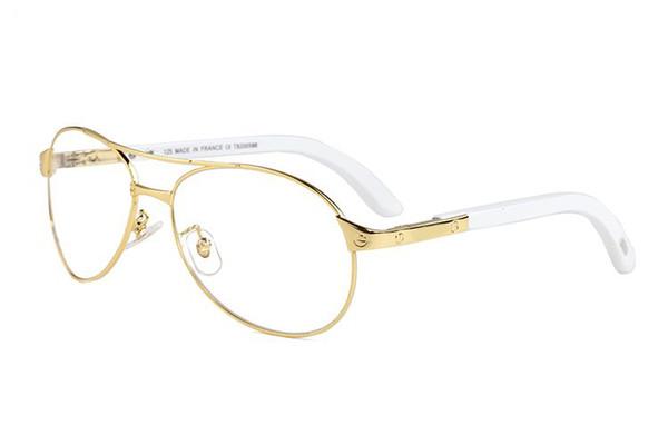 Luxusmarke Designer Sonnenbrille für Mens Fashion Vintage Oval Metallrahmen Holz Buffalo Horn Gläser Braun Klare Linsen Gold Silber Lunettes
