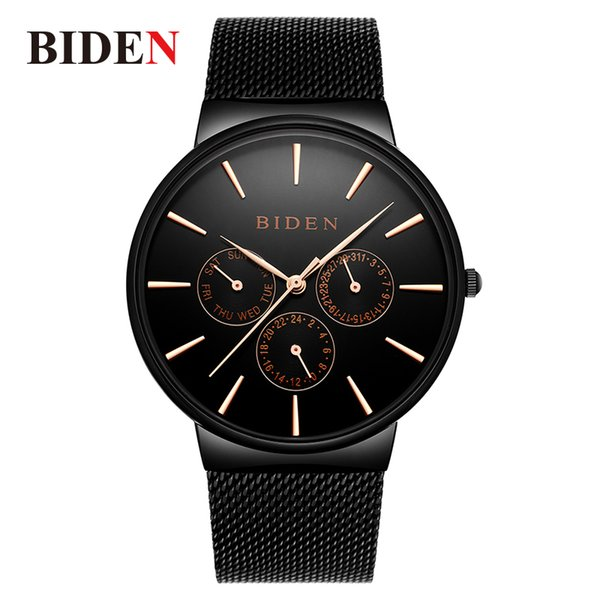 relogio masculino men watch biden fashion men's quartz wristwatches steel mesh business male watch auto date clock, Slivery;brown