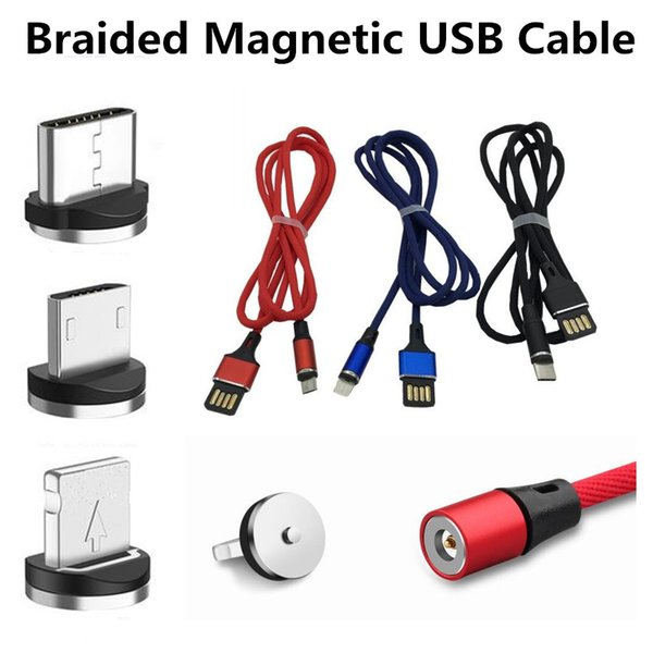 Magnetic Charger Cable Type-C Nylon Braided Micro USB Magnet Cord 1M 3FT Full 2A Fast Charger Cable For Samsung HTC Smartphone