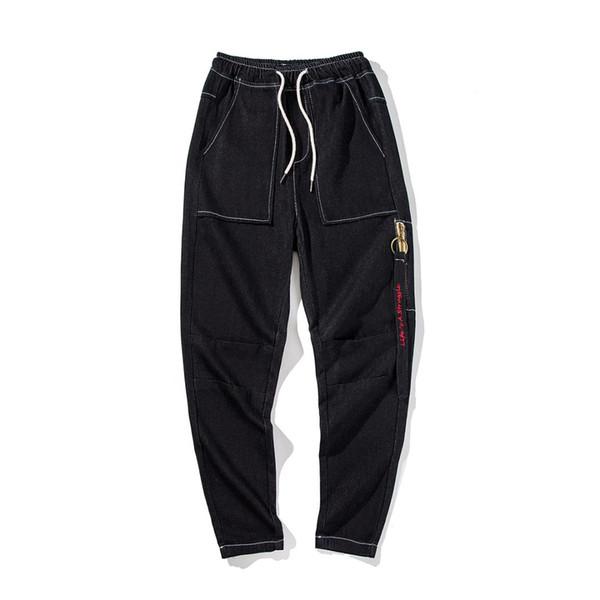 Casual Good-looking Zipper Embroidery Letter Pockets Elastic Waist Cowboy Pants Male 2018 Autumn Korean Style Loose Jeans Men