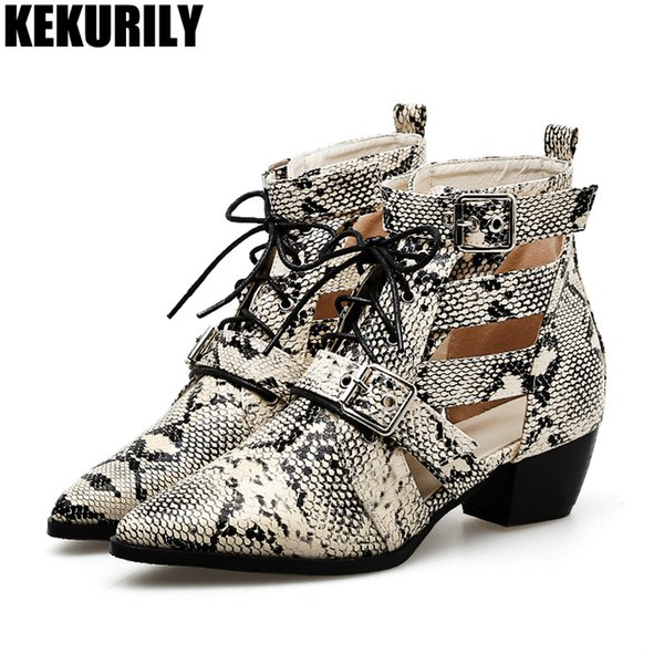 53a877107983 Women hollow Ankle Boots Snake print chunky heels boot Buckle lace up  Ladies Booties pointed toe