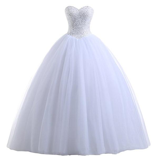 best selling Beaded Tulle Ball Gown Wedding Dress 2020 White Ivory Floor Length Bridal Gowns New Bride Dresses Vestidos De Novia Sweetheart off Shoulder