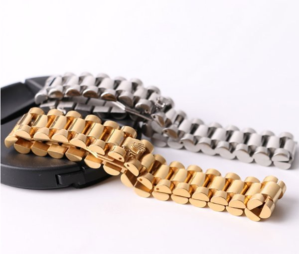 Hip Hop 22CM Watch Chain Crown Bracelets Bangles for Men 316L Stainless Steel Gold Silver Plated Luxury Designer fine Jewelry Gift