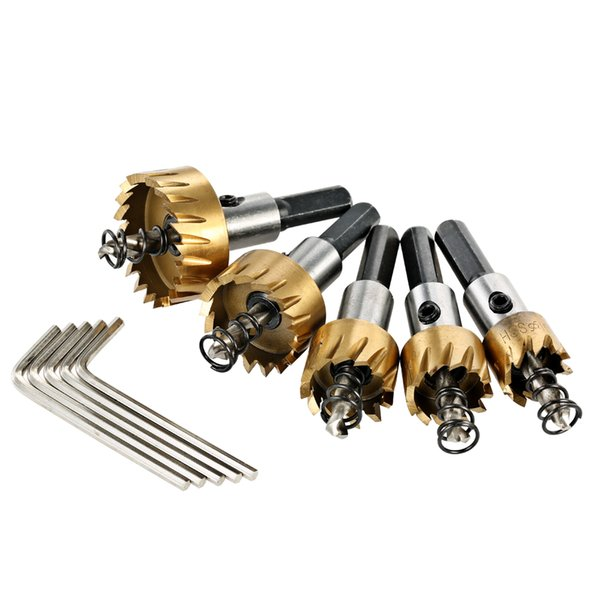 5PCS HSS 6542 Titanium Coated Drill Bits Set High Speed Steel Hole Saw wood Cutter Tool Saw Tooth 16/18.5/20/25/30mm Power Tools