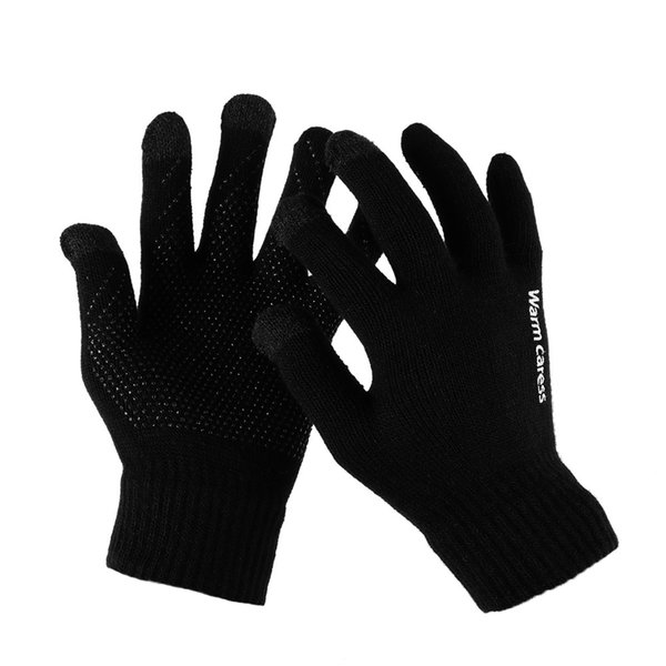 Fashion Men Women Phone Touch Screen Gloves Winter Warm Stretch Knit Full Finger Non-slip Wool Gloves With Good Elasticity
