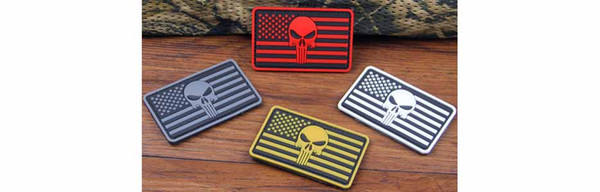 Free shipping Brand New American Flag Punisher Skull High Quality Rubber PVC Badge Clothing Backpack Bag Cap Patch Boost Morale armbands