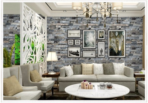 3d Stereoscopic Faux Stone Brick Wall Wallpaper For Walls 3 D Living Room Tv Background Vinyl Wallpaper Papier Peint Mural 3d Photos For Wallpapers