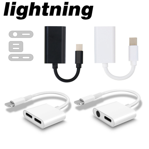 Cell Phone Charger Adapter 3 Style Double charging listening song line control extension cable Call headset adapter For iPhone 7 8 X XR XS