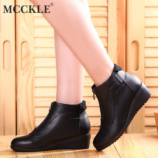 fce3f315 MCCKLE Botines Para Mujer Otoño Invierno Mujer Cuñas tacones bajos Zapatos  Mujer de Alta Calidad de