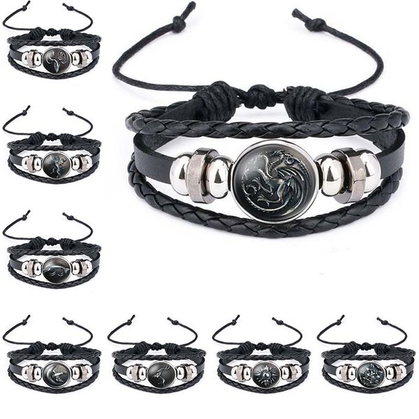 wolf head Game of Thrones A Song of Ice and Fire Logo Leather Bracelet Boys Glass Cabochon Bracelet movie jewelry 320048
