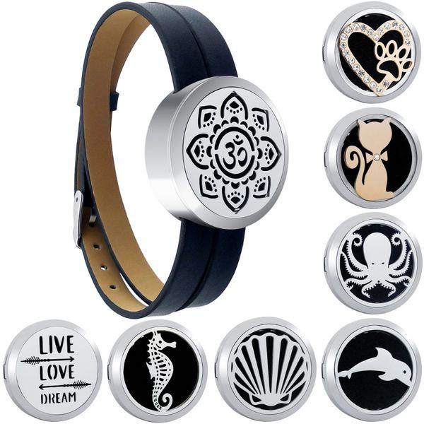 Lotus Aromatherapie Medaillon Armbänder Echtes Leder Ätherische Öle Edelstahl Diffusor Parfüm Medaillon Armreif mit Pads