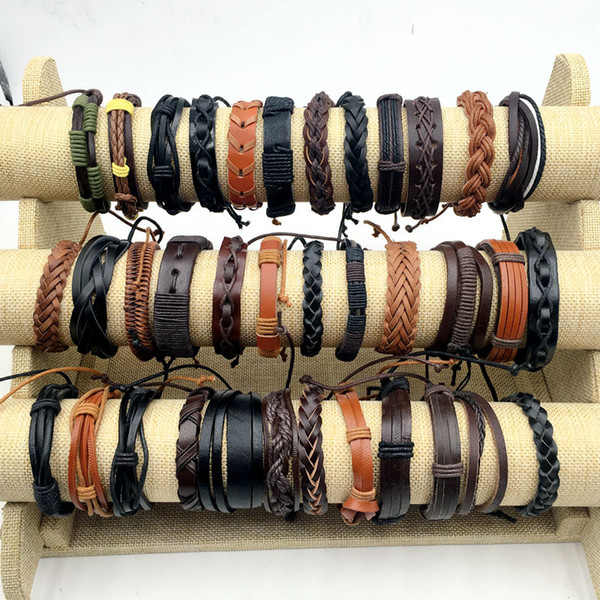 best selling 30 styles Hot Sale Snap Leather Bracelet Retro Handmade Braided Leather Snap Bracelet Bangles fit man women