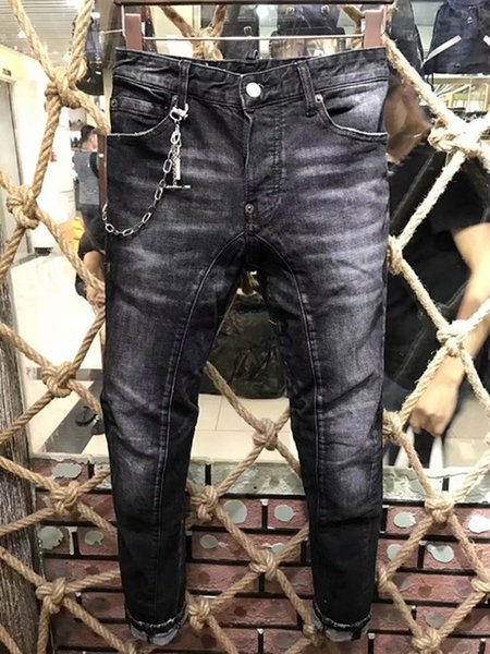 A161 new men's denim long slim, particularly elegant, micro-elastic fabric, natural washing effect, handmade old, wear point material. 44-54