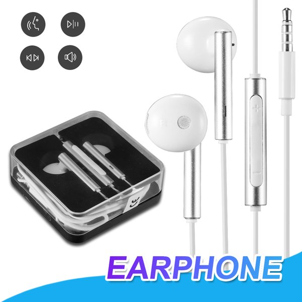 For Huawei 3.5mm Handsfree Headphones With Mic Remote Control Sport Earphone For Samsung Huawei Xiaomi LG With Crystal Box
