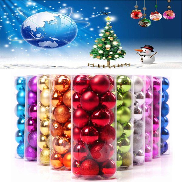 24pcs/6cm Shiny and Polshed Glossy Christmas Tree Balls Ornaments christmas decorations enfeite de natal for home 2017 #TX