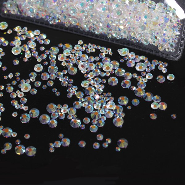 Transparente Crystal AB ss3-ss30 Flat Back Non HotFix Nail art Rhinestone 3D Glass Nail Art Decoraciones Mix Rhinestone