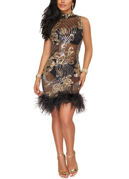 Women Bandage Dress Sexy See Through Mesh Sequined Feather Turtleneck Sleeveless Bodycon Mini Party Dress Club Wear Ladies Gowns