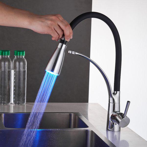 LED Style Brass Kitchen Faucets Cozinha Faucet Brass Swivel Spout Kitchen Sink Faucet Tap
