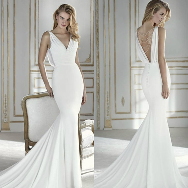 Vestidos De Noiva De Sereia Elegante 2018 Vestido De Noiva Sereia V Neck Sexy Backless Beading Projeto Simples Custom Made Vestidos De Noiva Vestido