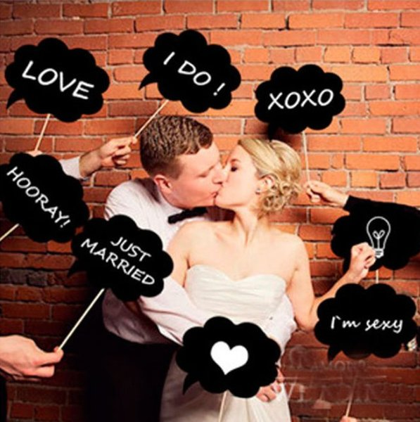 DIY 10pcs black cards +10pcs sticks+chalk Mr Mrs Photo Booth Props Love DIY Photography Wedding Decoration Party photobooth
