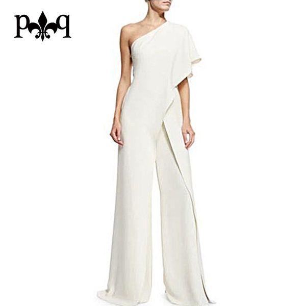 Wholesale-Hilove Women Summer Jumpsuit 2017 New Fashion One Shoulder White Jumpsuits Elegant Ladies Wide Leg Pants Casual Women Overalls