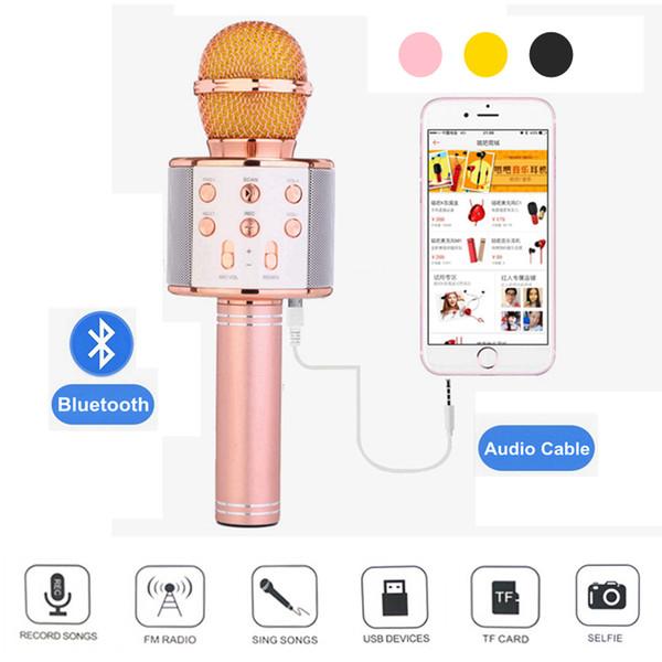 WS858 Moda Profesional Bluetooth Micrófono Inalámbrico Magic Karaoke Condensador USB Con Cable Reproductor de Teléfono Móvil Grabación de Micrófono Música