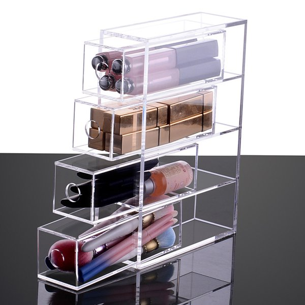 Clear Acrylic Makeup Drawer Organizer Desktop Makeup Storage Box Lipstick Holder Makeup Brushes Case Jewelry Cosmetic Box