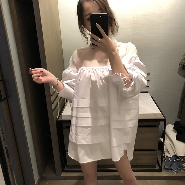 2018 new women fashion trend mesh white ruffled pleated dress female hollow clear loose lace up sexy shirt dress