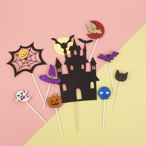 10Pcs/lot Halloween Cake Toppers Witch Castle Spider Bat pumpkin Cupcake Topper Halloween Party Cake Decoration Supply