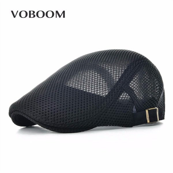 VOBOOM Verão Homens Mulheres Casuais Beret Hat Ivy Cap Flat Cabbie Estilo Jornaleiro Gatsby Chapéu Ajustável Respirável Boina Mesh Caps 124