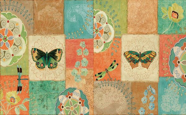 Custom Photo Wallpaper Ktv Original Garden Retro Cute Pattern Butterfly Tile Square Collage Background Wall Wallpaper Mural Painting For Li Nature