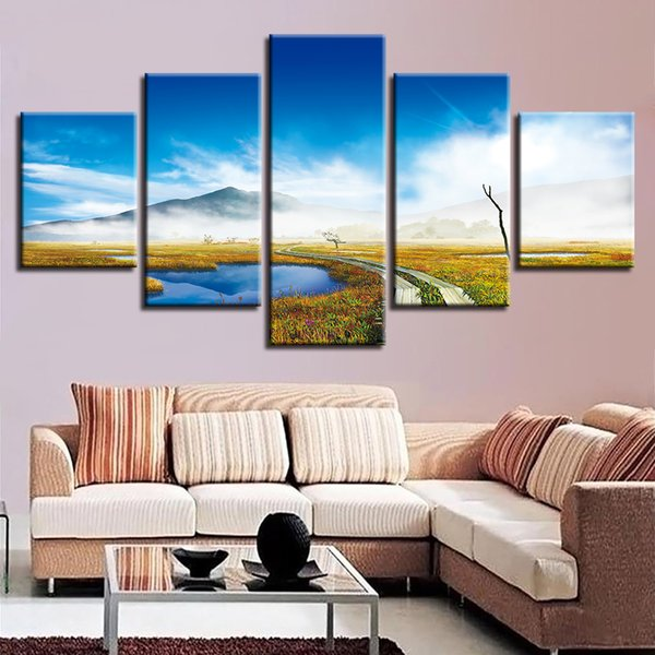 Canvas HD Print Painting Modular Decor 5 Pieces Posters Blue Sky White Cloud Mountain And Trail Natural Scenery Picture Wall Art