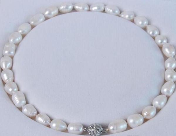 """Big 11-13MM Genuine Natural white akoya cultured pearl necklace Magnet Clasp 18"""""""