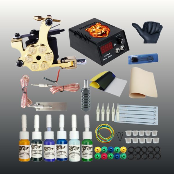 Complete Tattoo Machine Set 1 Coils Guns 6 Colors Ink Power Supply Tattoo Kits for Beginner Permanent Makeup Tattoo Kit Cheap