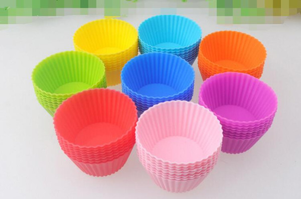 7cm Round shape Silicone Muffin Cases Cake Cupcake Liner Baking Mold multiple colors jelly baking mold cup cupcake
