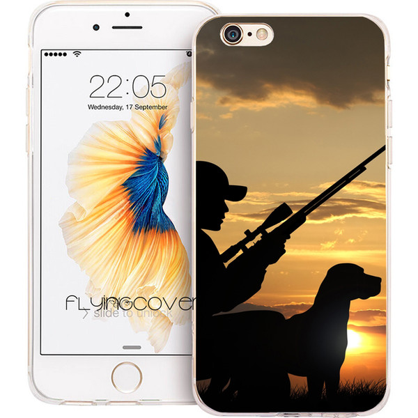 Hunting Man Dog Sport Clear Soft TPU Silicone Phone Cover for iPhone X 7 8 Plus 5S 5 SE 6 6S Plus 5C 4S 4 iPod Touch 6 5 Cases.
