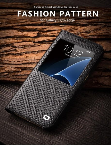 Smart view window ca e for am ung galaxy 7 edge leathe flip cover for am ung galaxy 7 patterned phone ca e