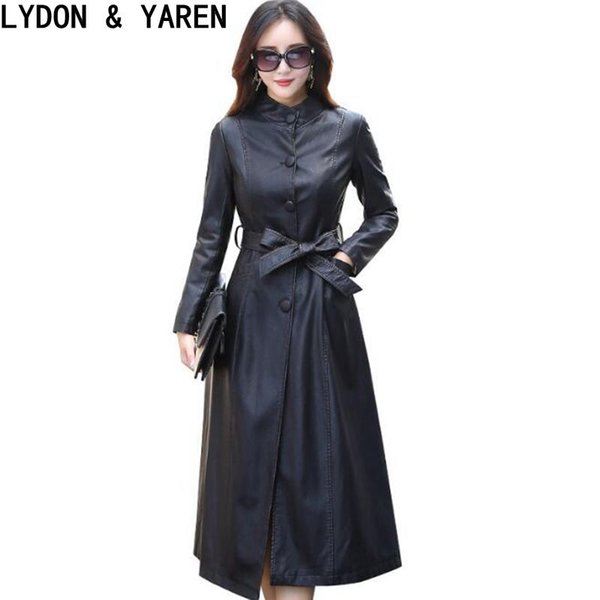 best selling 2017 new Women Leather Trench Coat Spring Spring Autumn Fashion Ladies Leather Jackets long Single-breasted Costumes Plus Size