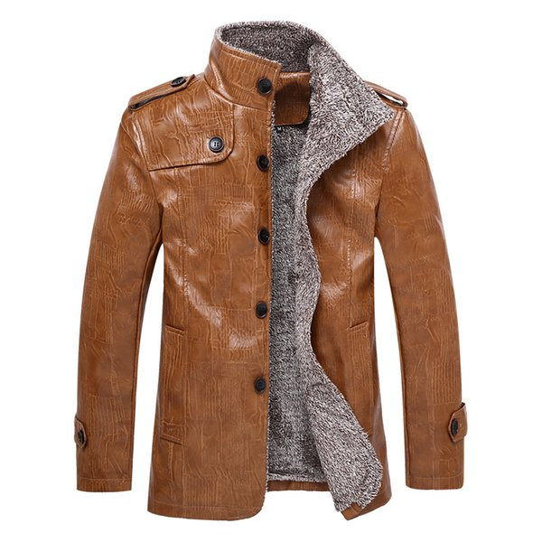 Full-length leather jacket with fur and fur in one body, lapel PU warm trench coat tommy hilfige brand cashmere mens cardigans men