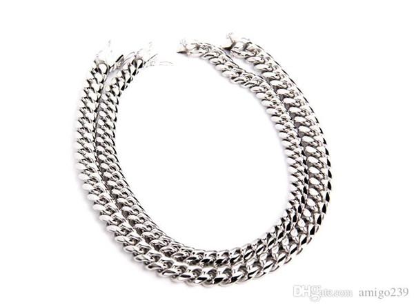 Hottest xxxtentacion Cuban Link Choker Gold Silver 45cm Titanium Steel