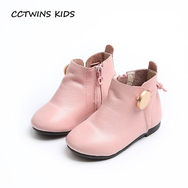 CCTWINS KIDS 2017 Kid Baby Girl Fashion Toddler Beige Shoe Children Brand Pink Booties Pu Leather Black Buckle Ankle Boot C1122
