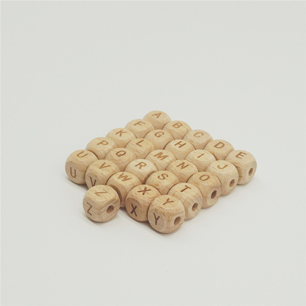 best selling 50pcs lot 10mm 12mm Square Laser Carving Letter Wood Beads Baby Teething Natural Beech Wooden Beads For Jewelry Making DIY Craft