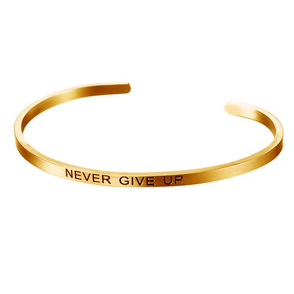 Nouveau Lettrage En Acier Inoxydable Jamais Abandonner Bracelets Bracelects Pour Les Femmes Amour Ouverture Bracelet Or Pur Couleur Bijoux