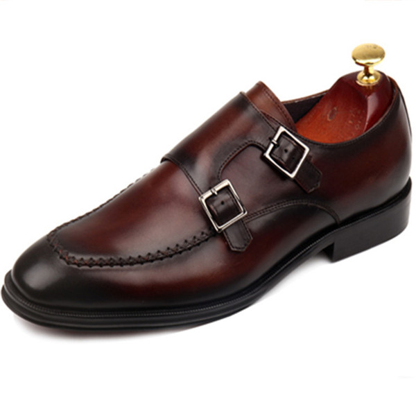 Erkekler Elbise ayakkabı Monk ayakkabı erkek ayakkabı Özel el yapımı ayakkabı Hakiki dana deri Renk kahverengi çift tokaları kayış