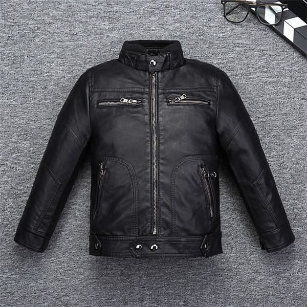Cool Design Boys Girls Leather Coat for Autumn Spring Quality Breathable Leather Kids Jacket Bicycle Bomber Children's Clothing