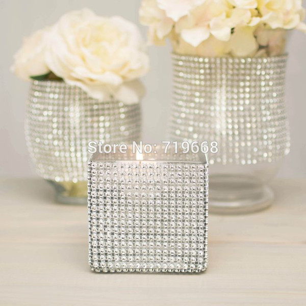 "Christmas Hot Sale 4 .75 ""X15 Ft (5yards )24rows Diamond Mesh Ribbon Roll Rhinestone Sparkling Wedding Party Home Decor"